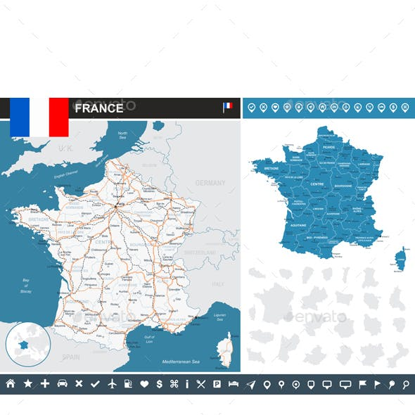 France Infographic Map - Illustration.