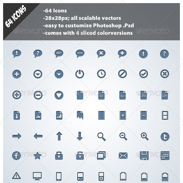 64 Simple Web Icons