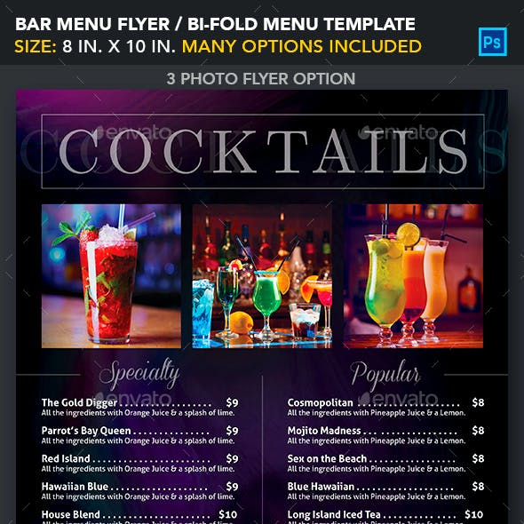 Bar Menu Flyer / Bi-fold Menu Template