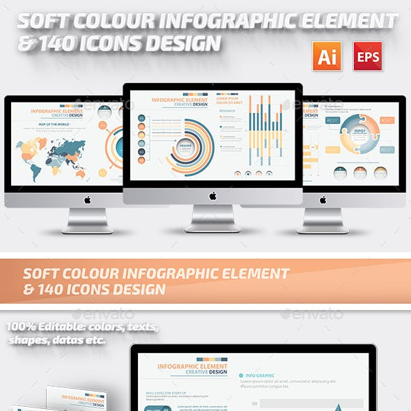 Soft Colour Infographics Elements Design