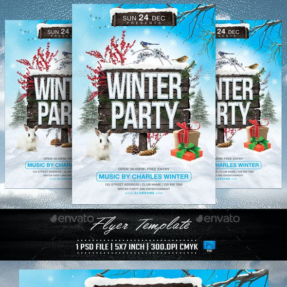 Winter Party Flyer Template v2