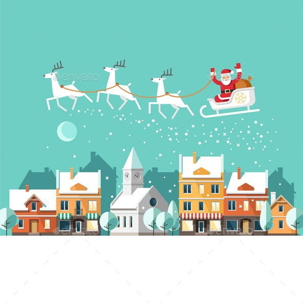 Santa on Sleigh and his Reindeers Winter Town