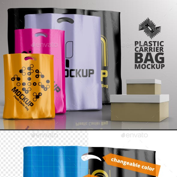 4 Plastic Carrier Shopping Bag Mockups