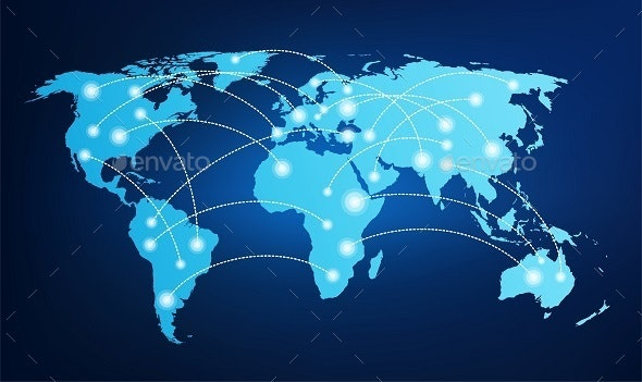 World Map with Global Connections - Communications Technology