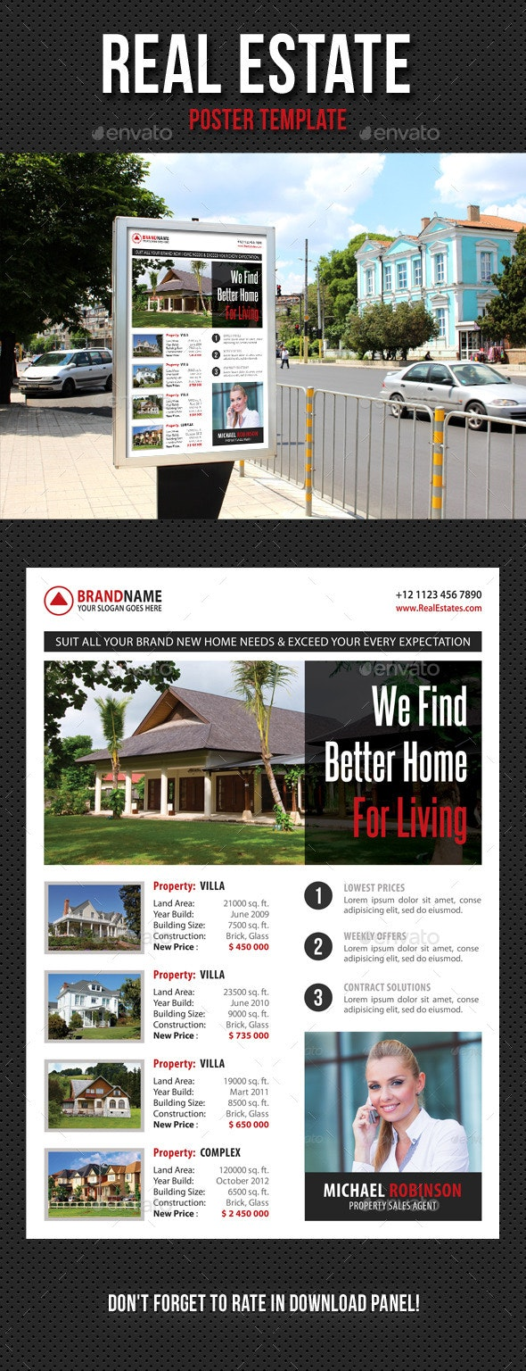 Real Estate Agency Poster Template 02 - Signage Print Templates