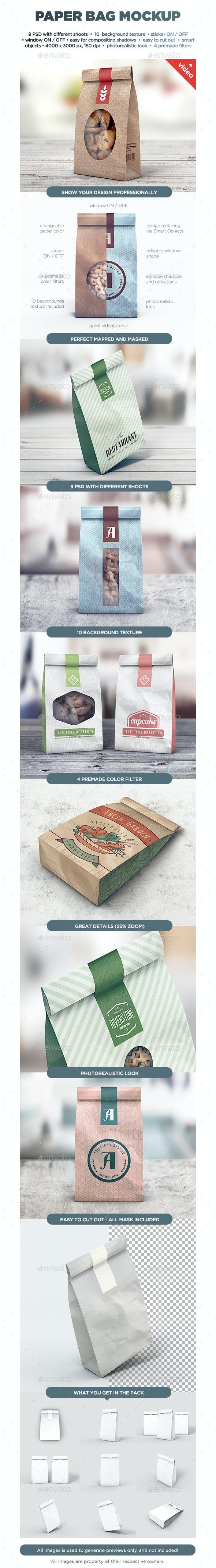 Paper Bag MockUp - Food and Drink Packaging