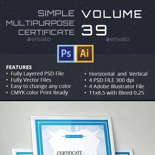 Simple Multipurpose Certificate GD039