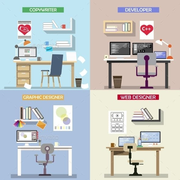 Vector Design Concept For Working Places