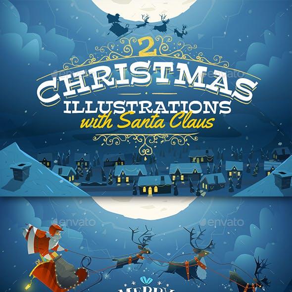 2 Christmas Illustrations with Santa