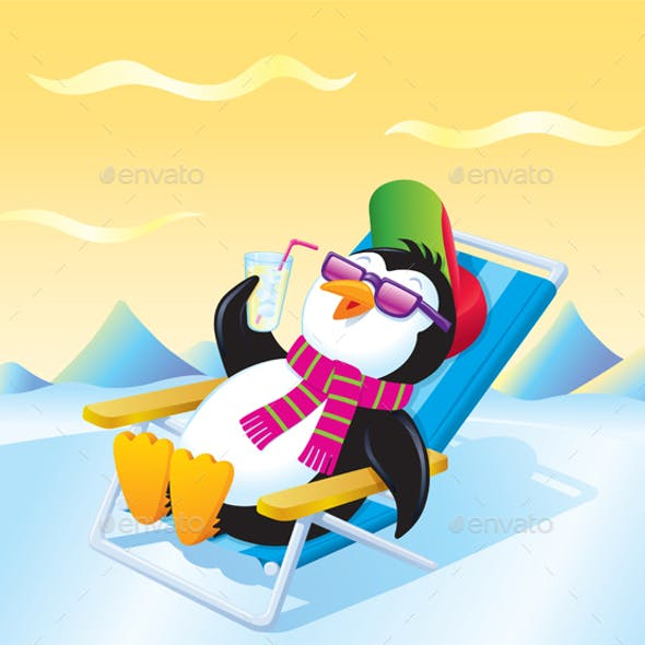 Penguin Relaxing with an Iced Drink