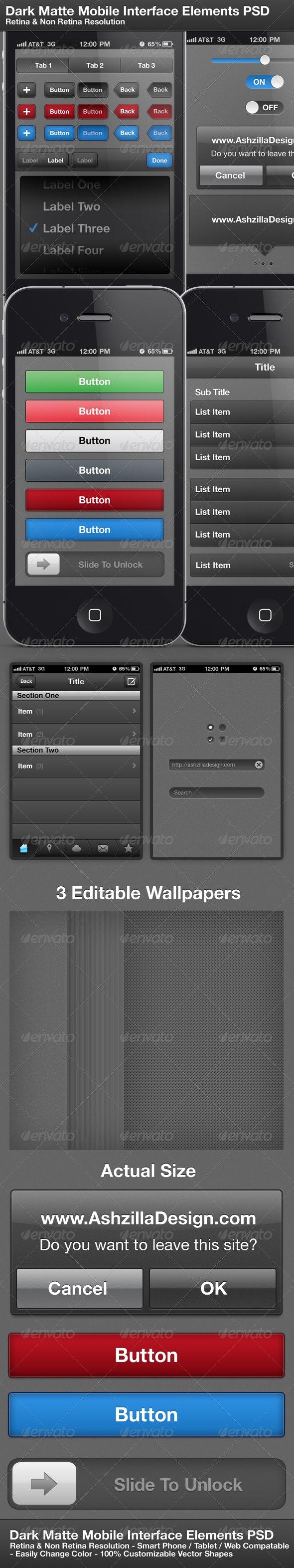 Dark Matte Mobile Interface Elements PSD