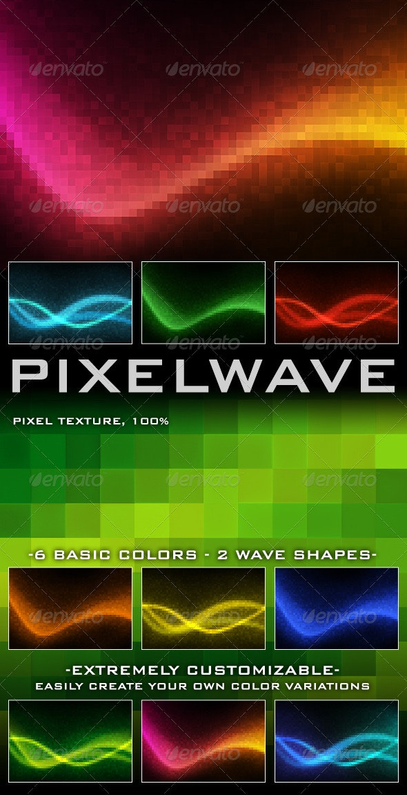 Pixel Wave - Abstract Backgrounds - Backgrounds Graphics
