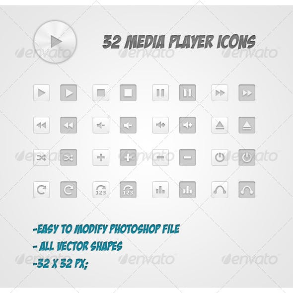 32 Media Player Icons