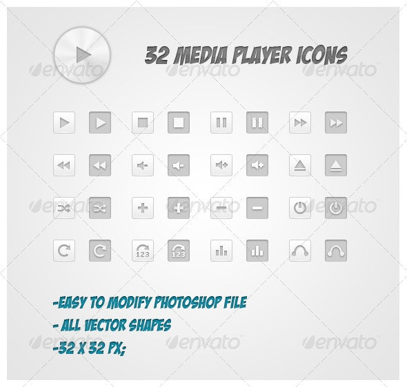 32 Media Player Icons - Media Icons
