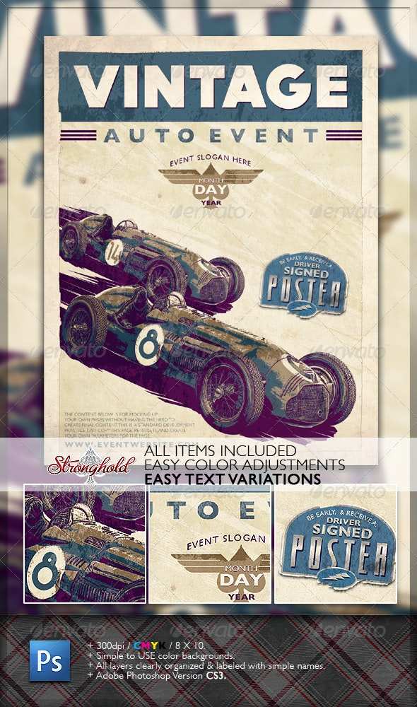 Vintage Race Flyer - Clubs & Parties Events