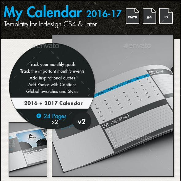 Calendar - Goal Planner for 2016 and 2017 - A4 Landscape Template
