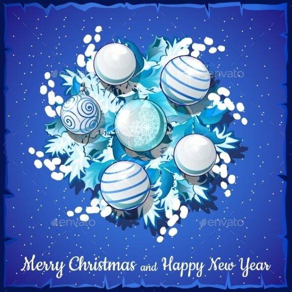Christmas Card on Silver Wreath with Balls