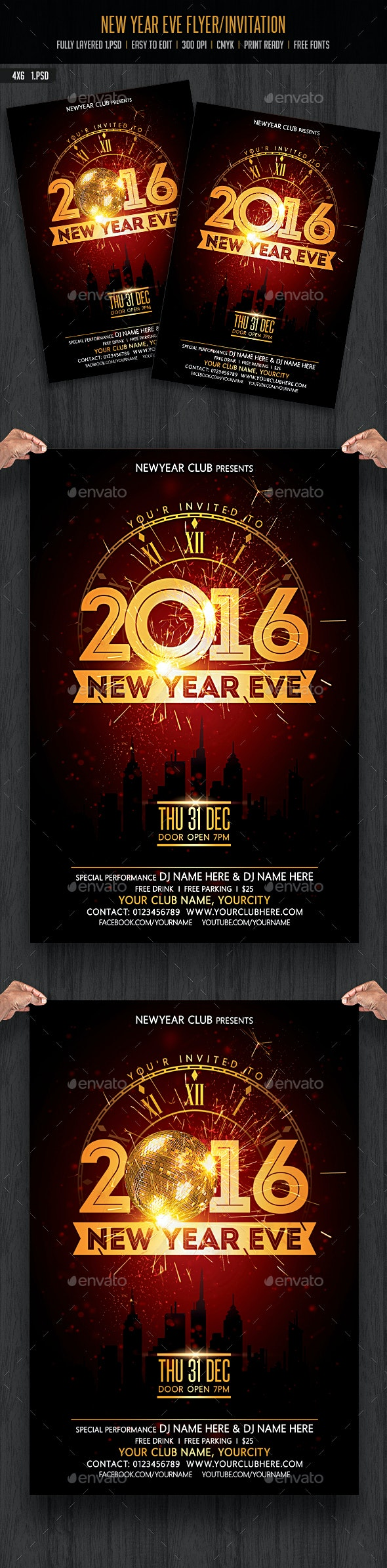 New Year Eve Flyer / Invitation - Clubs & Parties Events