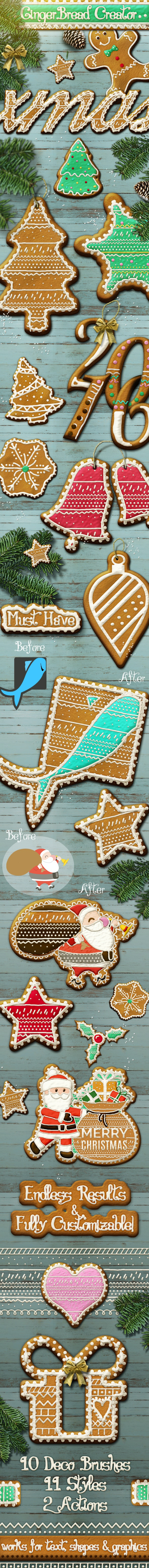 Gingerbread Christmas Style Photoshop Creator - Text Effects Actions