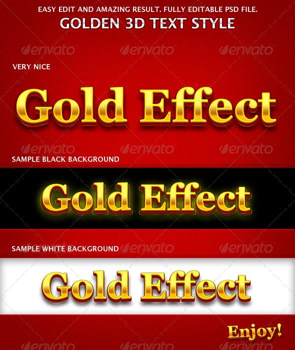 Golden 3D Text Effects - Text Effects Actions