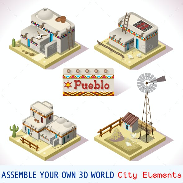 Pueblo Tiles 03 Set Isometric