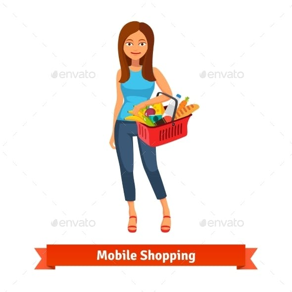 Young Woman Standing With Plastic Shopping Basket