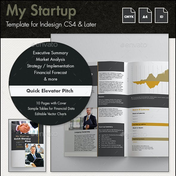 My Startup - Quick Elevator Pitch Template - A4