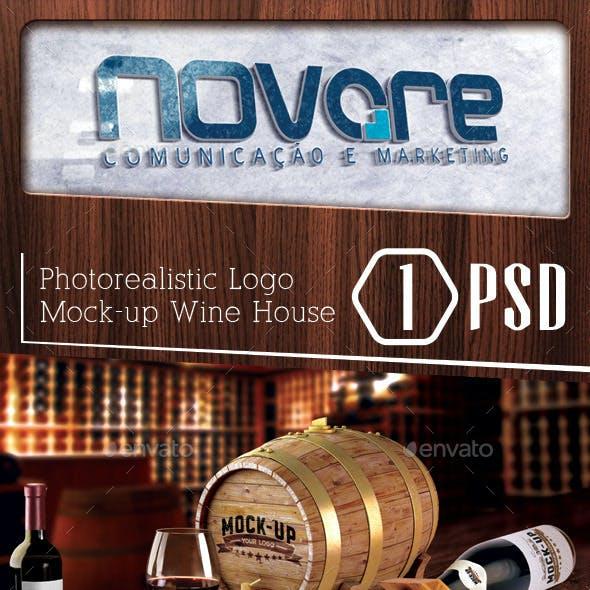 Photorealistic Wine House Logo Mock-up