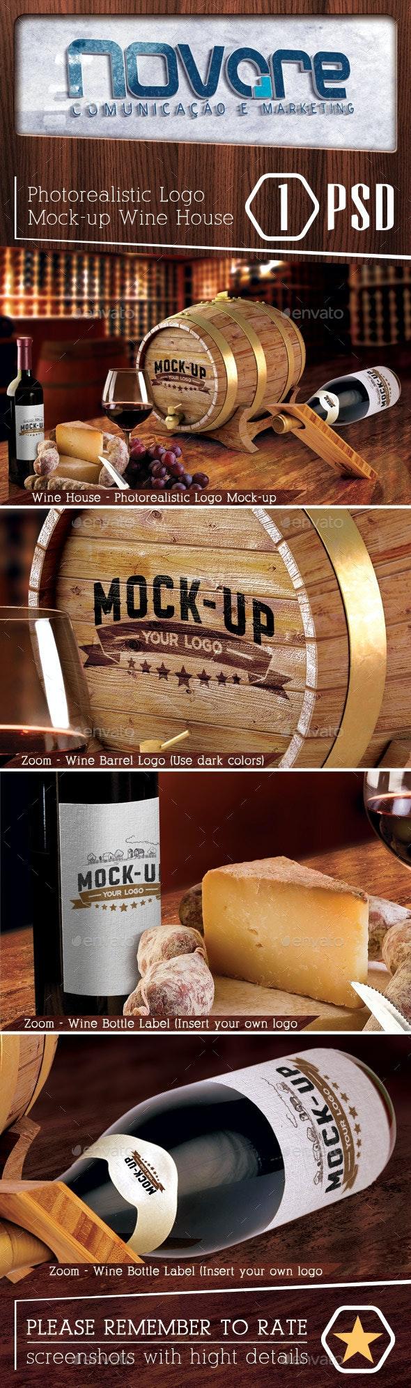 Photorealistic Wine House Logo Mock-up - Print Product Mock-Ups