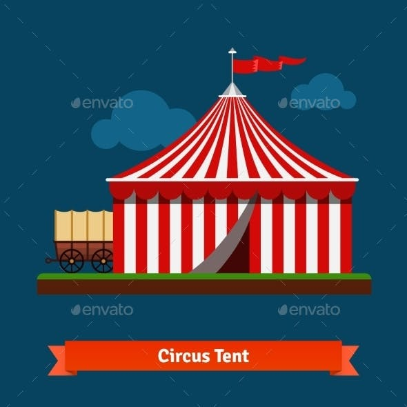 Open Circus Striped Tent With Wagon Wheel