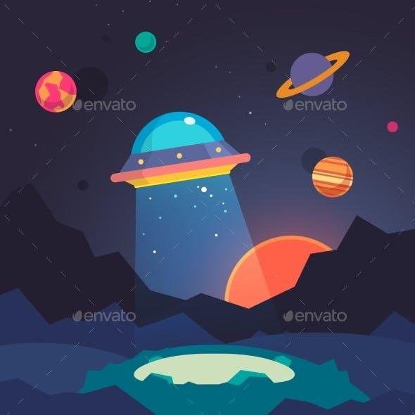 Night Alien World Landscape And Ufo Spaceship