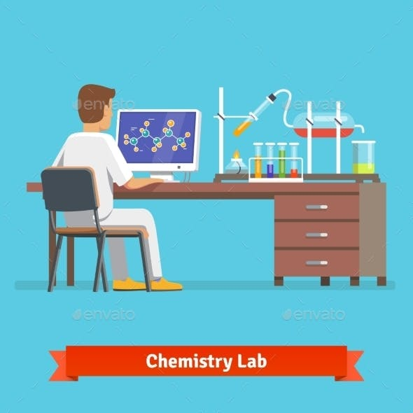 Medical Chemistry Lab Worker Researching