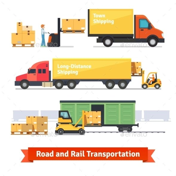 Cargo Transportation By Road And Train