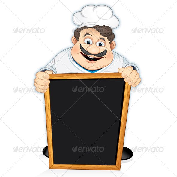 Chef with Blackboard Sign