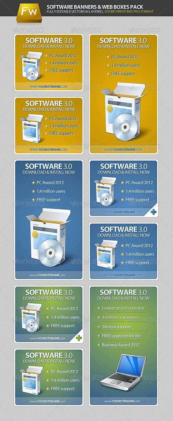 Software Banners & Web Boxes Pack - Banners & Ads Web Elements