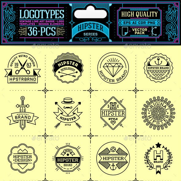 Hipster Thin Line Badges and Logos. Vector Pack.