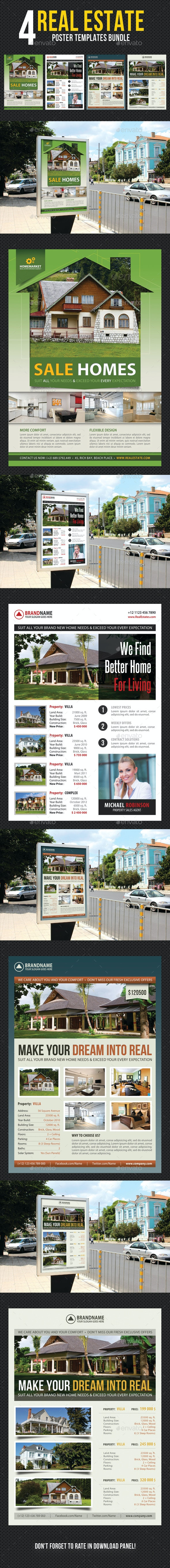 4 in 1 Real Estate Agency Poster Bundle - Signage Print Templates
