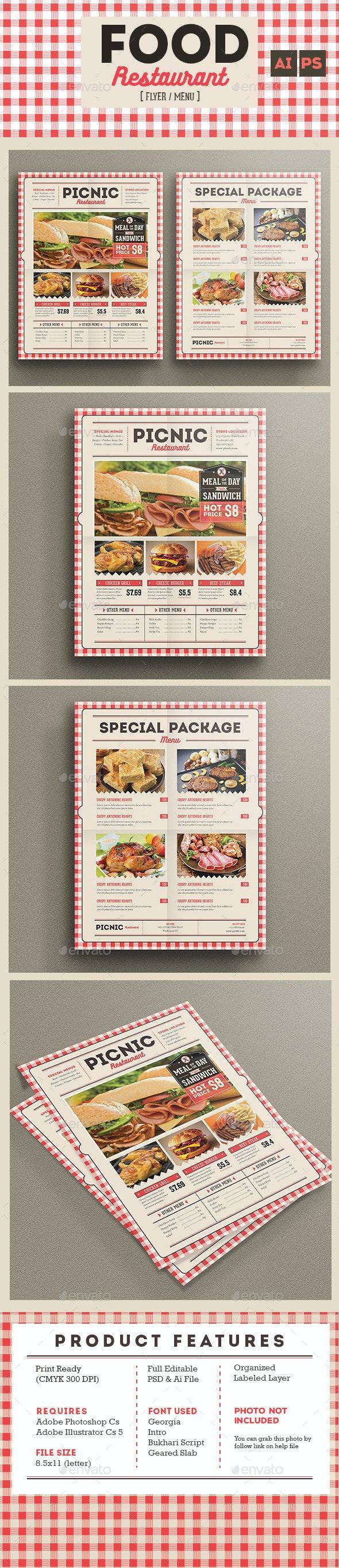 Retro flyer menu food restaurant - Restaurant Flyers