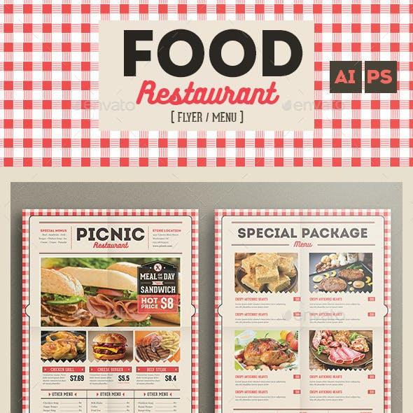 Retro flyer menu food restaurant
