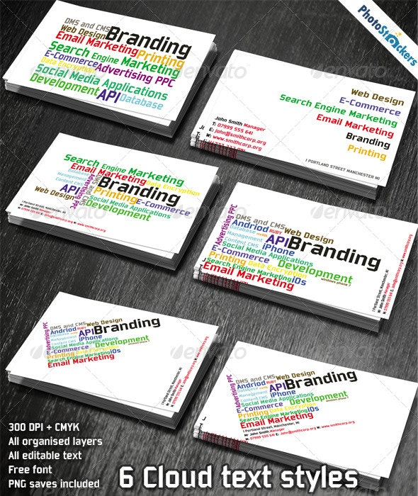 Cloud Word Tag Business Card - Creative Business Cards