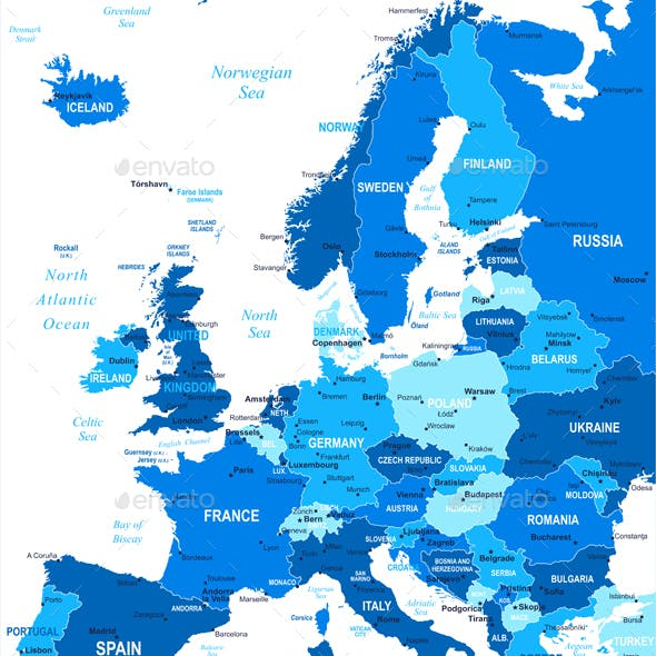 Highly Detailed Vector Illustration of Europe Map.