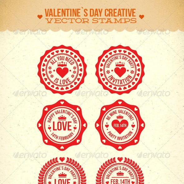 Valentine's Day Creative Vector Stamps