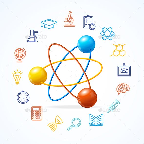 Science Concept and  Outline Colorful Icons Set