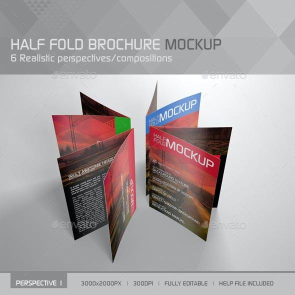 Realistic Half Fold Brochure Mockup