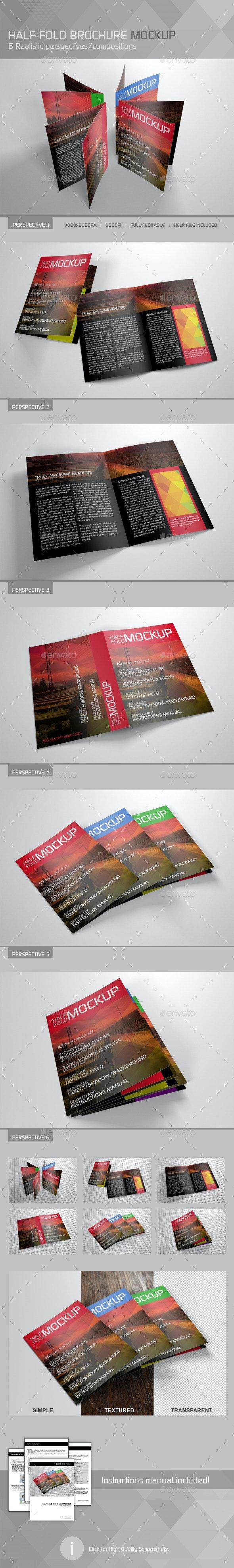 Realistic Half Fold Brochure Mockup - Brochures Print