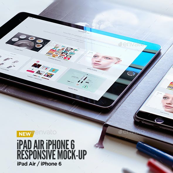 Tablet iPad Air iPhone 6 Black Display Mock-Up
