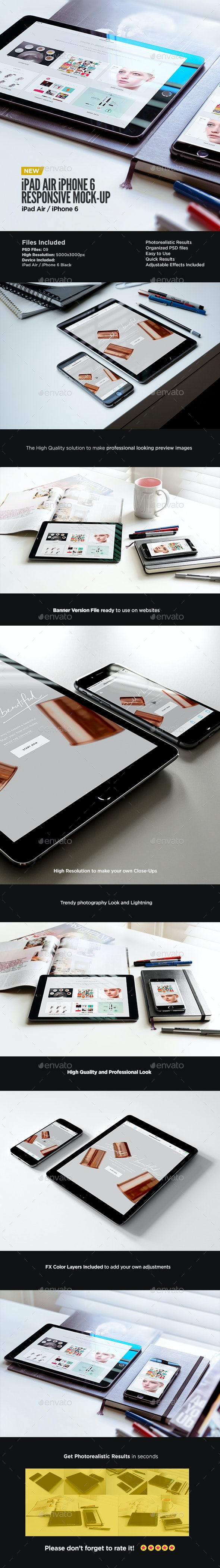Tablet iPad Air iPhone 6 Black Display Mock-Up  - Displays Product Mock-Ups