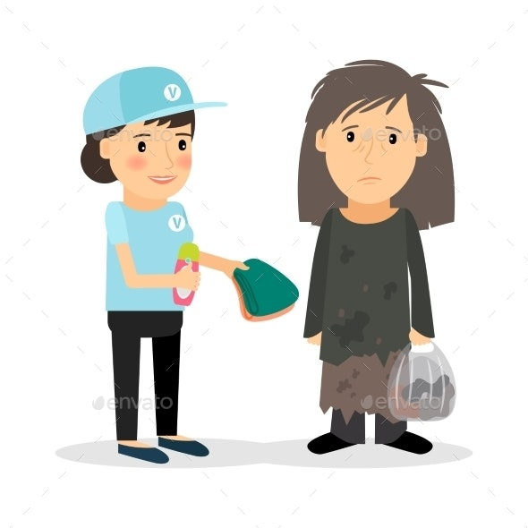 Caring for Homeless and Refugees - People Characters