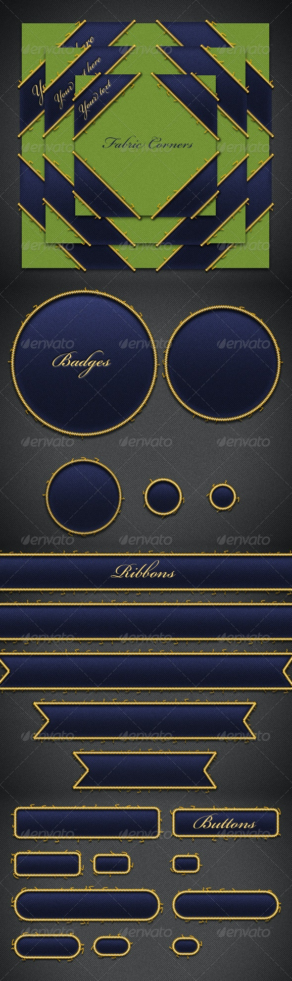 Fabric Badges, Corners, Buttons and Ribbons - Badges & Stickers Web Elements