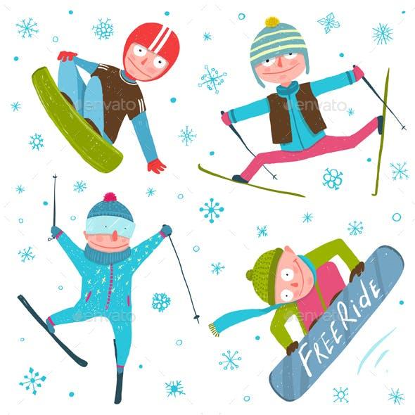 Skier Snowboarder Winter Sport Seasonal Collection